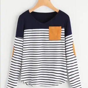 Tops - Striped elbow patch T-shirt